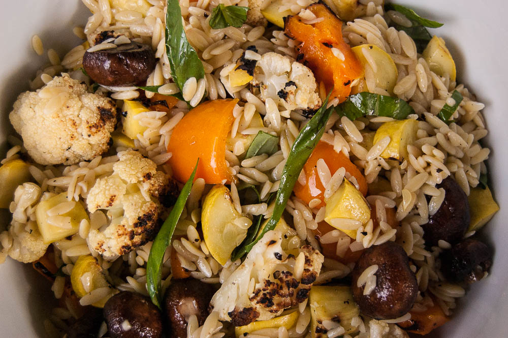 Enjoy this Grilled Vegetables & Orzo Salad with chicken, beef or fish. Delicious and easy to prepare!