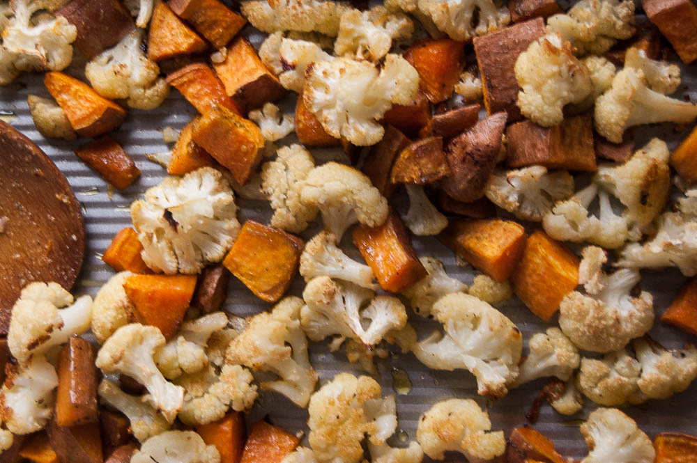Roasted Cauliflower & Sweet Potatoes